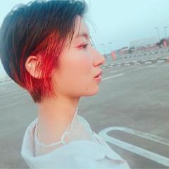 イルミナカラー ショート アプリコットオレンジ 外国人風カラー ヘアスタイルや髪型の写真・画像