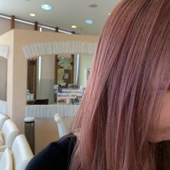 モード ピンクベージュ ブリーチオンカラー ピンクブラウン ヘアスタイルや髪型の写真・画像