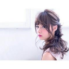 フェミニン ハーフアップ パーマ ショート ヘアスタイルや髪型の写真・画像
