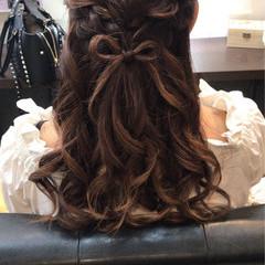 可愛い ガーリー ハーフアップ セミロング ヘアスタイルや髪型の写真・画像