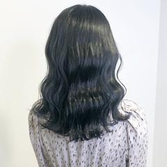 暗髪女子 ナチュラル ブルーブラック ネイビーブルー ヘアスタイルや髪型の写真・画像