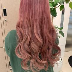 ストリート ピンク ロング ピンクバイオレット ヘアスタイルや髪型の写真・画像