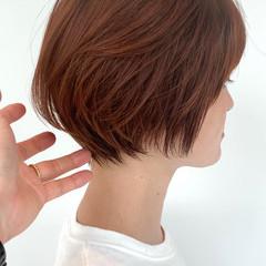 インナーカラー ミニボブ ショート ナチュラル ヘアスタイルや髪型の写真・画像
