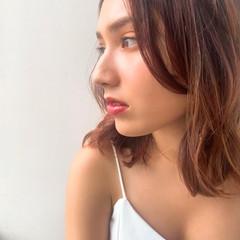 ミディアム ピンクブラウン モード ラベンダーピンク ヘアスタイルや髪型の写真・画像