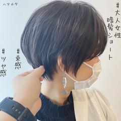 切りっぱなしボブ ショートボブ インナーカラー ナチュラル ヘアスタイルや髪型の写真・画像