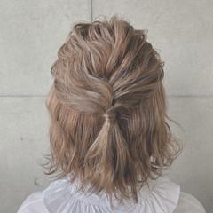 簡単ヘアアレンジ ふわふわヘアアレンジ ナチュラル ボブ ヘアスタイルや髪型の写真・画像