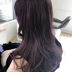 ピンクパープル ブラックバイオレット ロング フェミニン ヘアスタイルや髪型の写真・画像