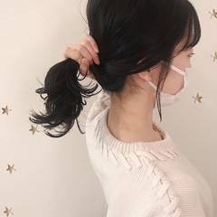 ナチュラル ミディアム 切りっぱなしボブ 鎖骨ミディアム ヘアスタイルや髪型の写真・画像