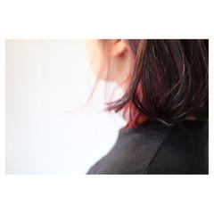 個性的 インナーカラー ボブ ピンク ヘアスタイルや髪型の写真・画像
