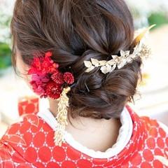 花嫁 結婚式髪型 セミロング ナチュラル ヘアスタイルや髪型の写真・画像
