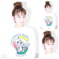 簡単ヘアアレンジ ミディアム フェミニン ショート ヘアスタイルや髪型の写真・画像