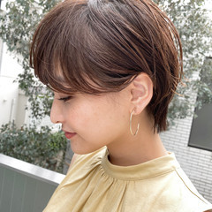 ショート 小顔 ナチュラル ショートヘア ヘアスタイルや髪型の写真・画像