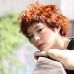 ショート 斜め前髪 色気 ストリート ヘアスタイルや髪型の写真・画像