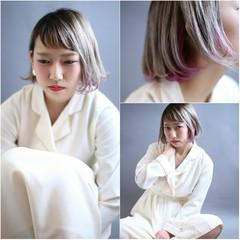 インナーカラー ピンク ボブ 前髪あり ヘアスタイルや髪型の写真・画像
