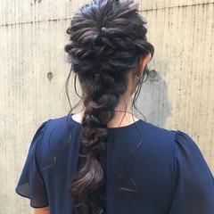 ヘアアレンジ フェミニン 編み込み ロング ヘアスタイルや髪型の写真・画像