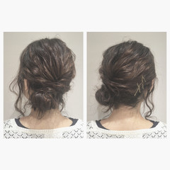 アッシュ ヘアアレンジ ミディアム 大人かわいい ヘアスタイルや髪型の写真・画像