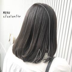 縮毛矯正 前髪 ストレート ミディアム ヘアスタイルや髪型の写真・画像