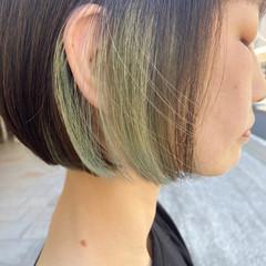 ナチュラル インナーカラー ボブ デザインカラー ヘアスタイルや髪型の写真・画像