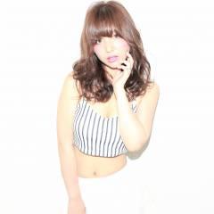 大人かわいい シースルーバング セミロング フェミニン ヘアスタイルや髪型の写真・画像
