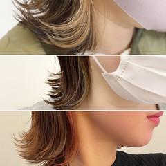 ナチュラル デザインカラー ハイライト グレージュ ヘアスタイルや髪型の写真・画像