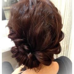 ヘアアレンジ ピンク レッド ヘアスタイルや髪型の写真・画像