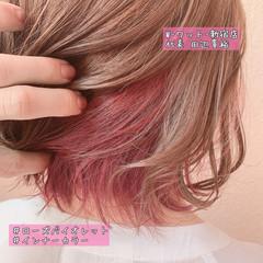 ピンクブラウン ピンクベージュ ショートボブ ガーリー ヘアスタイルや髪型の写真・画像