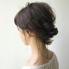 ミディアム 色気 結婚式 夏 ヘアスタイルや髪型の写真・画像