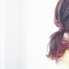 グラデーションカラー 簡単ヘアアレンジ フェミニン ポニーテール ヘアスタイルや髪型の写真・画像