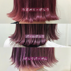 ラベンダーピンク ラベンダーグレージュ ピンクラベンダー セミロング ヘアスタイルや髪型の写真・画像