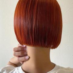 ショートボブ ボブ 切りっぱなしボブ オレンジベージュ ヘアスタイルや髪型の写真・画像