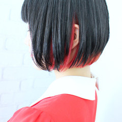 ヘアカラー モード ボブ ブリーチ ヘアスタイルや髪型の写真・画像