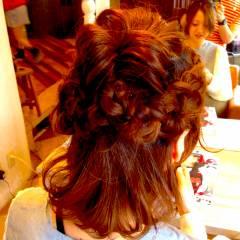 編み込み パーティ コンサバ ヘアアレンジ ヘアスタイルや髪型の写真・画像
