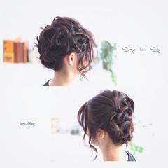 ハーフアップ アッシュ ミディアム フェミニン ヘアスタイルや髪型の写真・画像