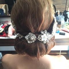 ブライダル ヘアアレンジ セミロング 結婚式 ヘアスタイルや髪型の写真・画像