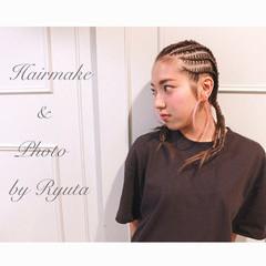 ミディアム ストリート コーンロウ 暗髪 ヘアスタイルや髪型の写真・画像