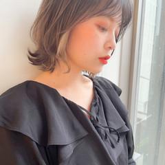ミディアム 鎖骨ミディアム シースルーバング イヤリングカラー ヘアスタイルや髪型の写真・画像