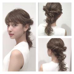 ヘアアレンジ 結婚式 ミディアム 編み込み ヘアスタイルや髪型の写真・画像