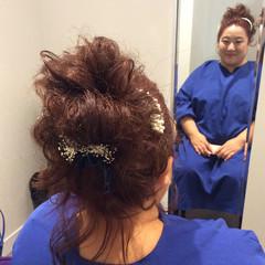 セミロング 編み込み 結婚式ヘアアレンジ ナチュラル ヘアスタイルや髪型の写真・画像