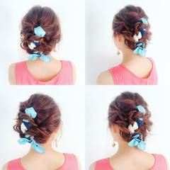 ヘアアクセ 編み込み ミディアム ヘアアレンジ ヘアスタイルや髪型の写真・画像