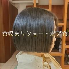 ショートヘア 切りっぱなしボブ ボブ まとまるボブ ヘアスタイルや髪型の写真・画像
