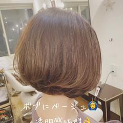 ナチュラル ボブ 圧倒的透明感 透明感カラー ヘアスタイルや髪型の写真・画像
