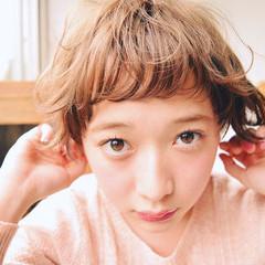 前髪あり パーマ ガーリー ショート ヘアスタイルや髪型の写真・画像