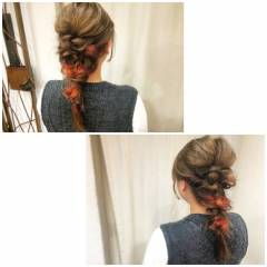 編み込み インナーカラー ヘアアレンジ ストリート ヘアスタイルや髪型の写真・画像