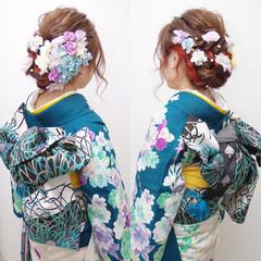 ガーリー 振袖 ヘアアレンジ セミロング ヘアスタイルや髪型の写真・画像
