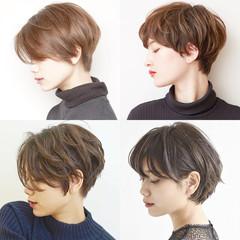 黒髪 ショート パーマ オフィス ヘアスタイルや髪型の写真・画像