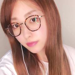 ナチュラルブラウンカラー 眼鏡 モテ髪 ナチュラル ヘアスタイルや髪型の写真・画像