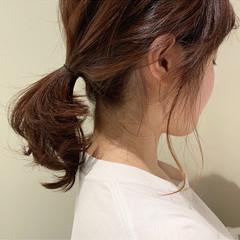 オレンジ ミディアム ローポニーテール ヘアアレンジ ヘアスタイルや髪型の写真・画像