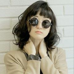 ニュアンス ミディアム ストリート 黒髪 ヘアスタイルや髪型の写真・画像
