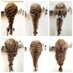 ロング ヘアアレンジ 編み込み アップスタイル ヘアスタイルや髪型の写真・画像
