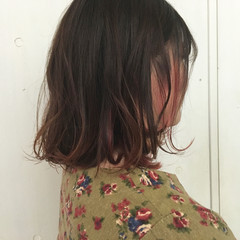 グラデーションカラー 透明感 ピンク ストリート ヘアスタイルや髪型の写真・画像
